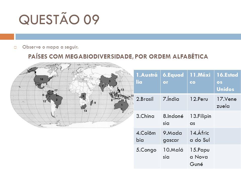 QUESTÃO 09  Observe o mapa a seguir. PAÍSES COM MEGABIODIVERSIDADE, POR ORDEM ALFABÉTICA 1.Austrá lia 6.Equad or 11.Méxi co 16.Estad os Unidos 2.Bras