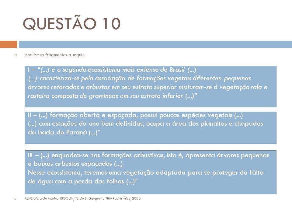 """QUESTÃO 10  Analise os fragmentos a seguir.  ALMEIDA, Lúcia Marina. RIGOLIN, Tércio B. Geografia. São Paulo: Ática, 2005. I – """"(...) é o segundo eco"""