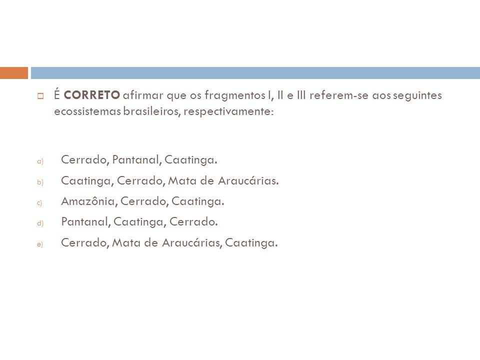  É CORRETO afirmar que os fragmentos I, II e III referem-se aos seguintes ecossistemas brasileiros, respectivamente: a) Cerrado, Pantanal, Caatinga.