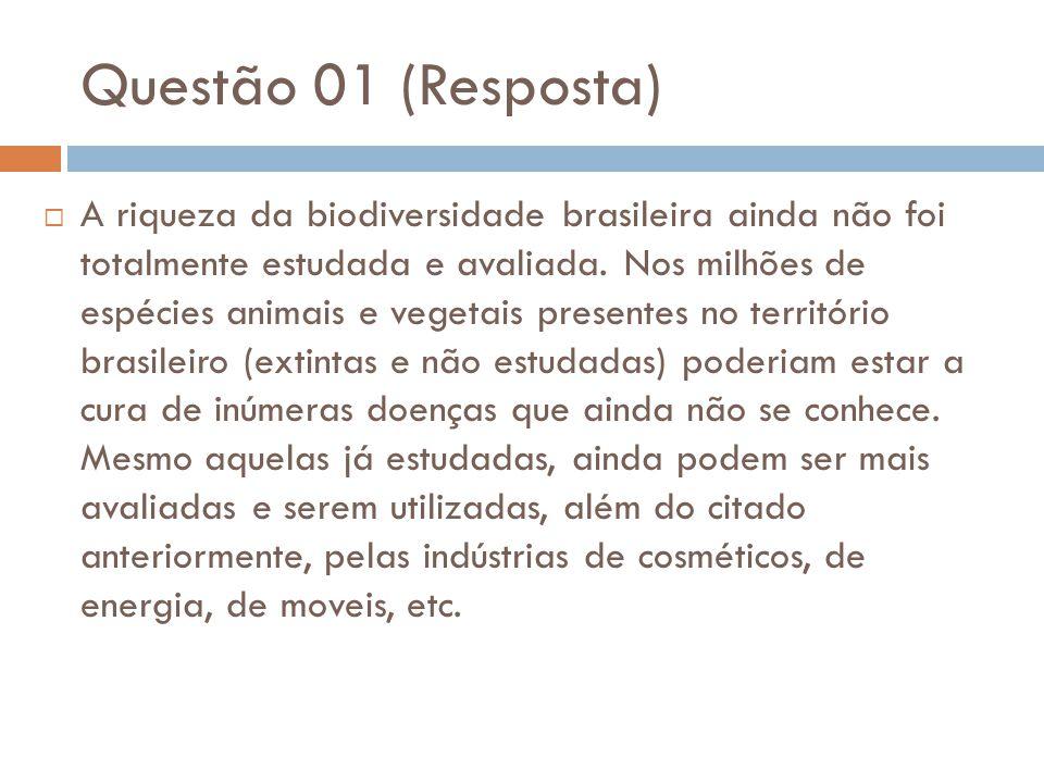 Questão 01 (Resposta)  A riqueza da biodiversidade brasileira ainda não foi totalmente estudada e avaliada. Nos milhões de espécies animais e vegetai