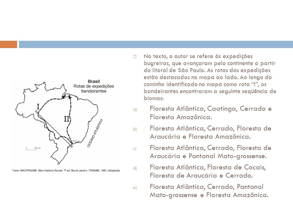  No texto, o autor se refere às expedições bugreiras, que avançaram pelo continente a partir do litoral de São Paulo. As rotas das expedições estão d
