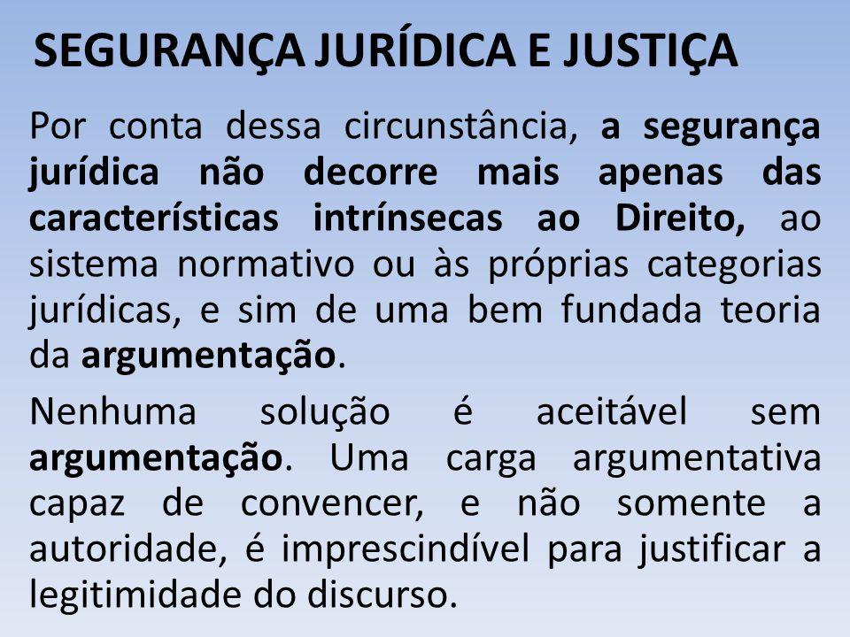 SEGURANÇA JURÍDICA E JUSTIÇA Por conta dessa circunstância, a segurança jurídica não decorre mais apenas das características intrínsecas ao Direito, a
