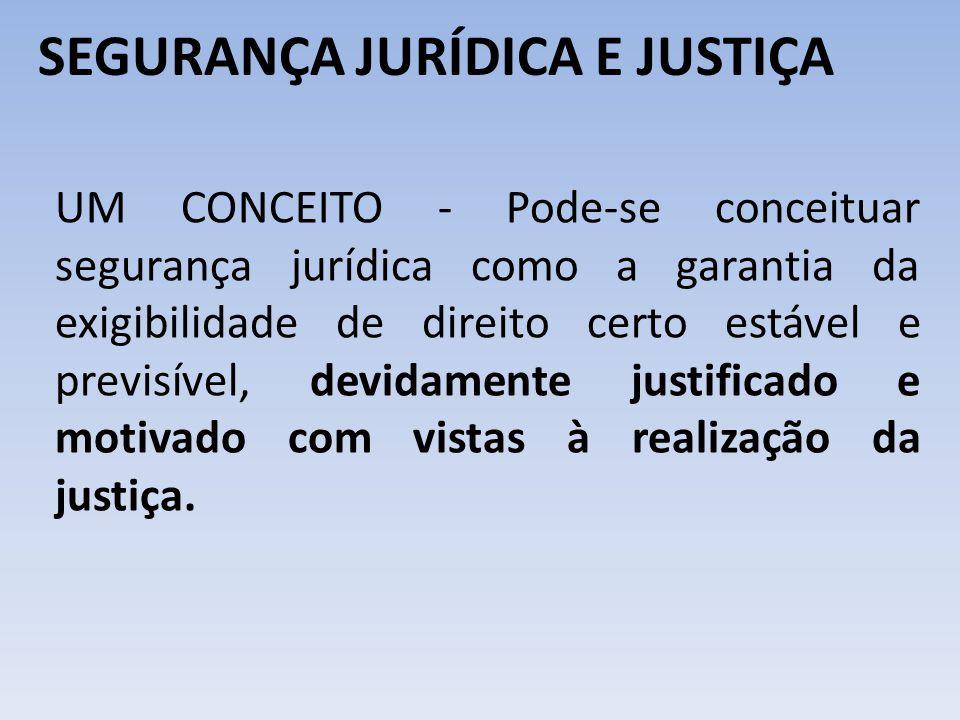 SEGURANÇA JURÍDICA E JUSTIÇA UM CONCEITO - Pode-se conceituar segurança jurídica como a garantia da exigibilidade de direito certo estável e previsíve