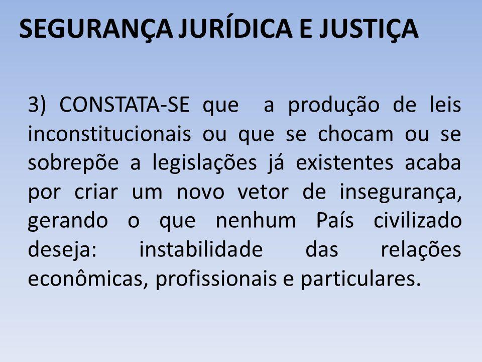 SEGURANÇA JURÍDICA E JUSTIÇA 3) CONSTATA-SE que a produção de leis inconstitucionais ou que se chocam ou se sobrepõe a legislações já existentes acaba