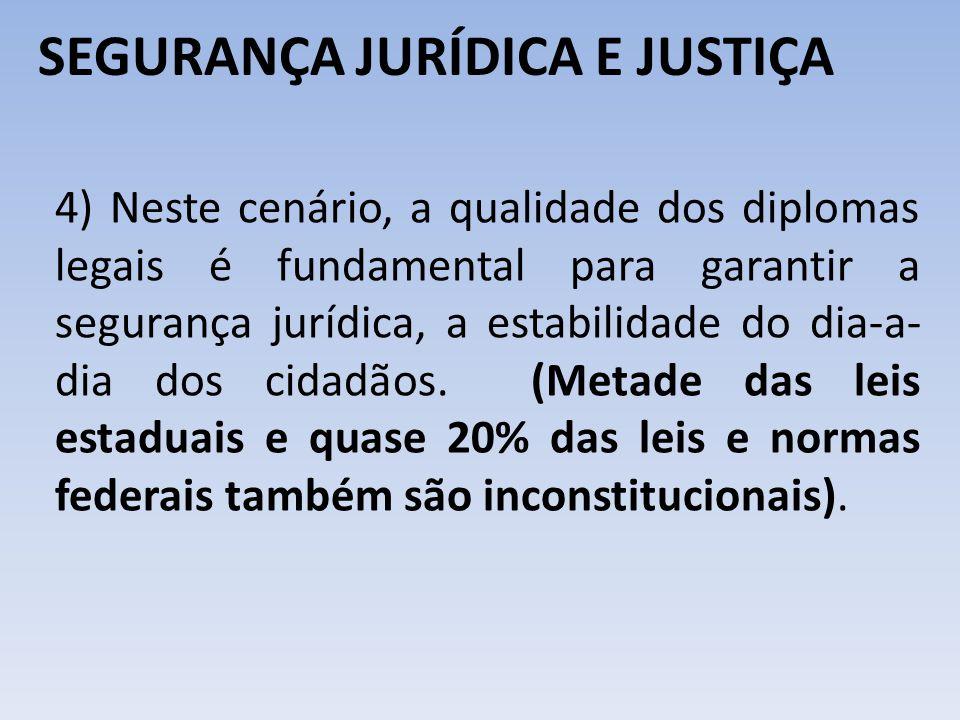 SEGURANÇA JURÍDICA E JUSTIÇA 4) Neste cenário, a qualidade dos diplomas legais é fundamental para garantir a segurança jurídica, a estabilidade do dia