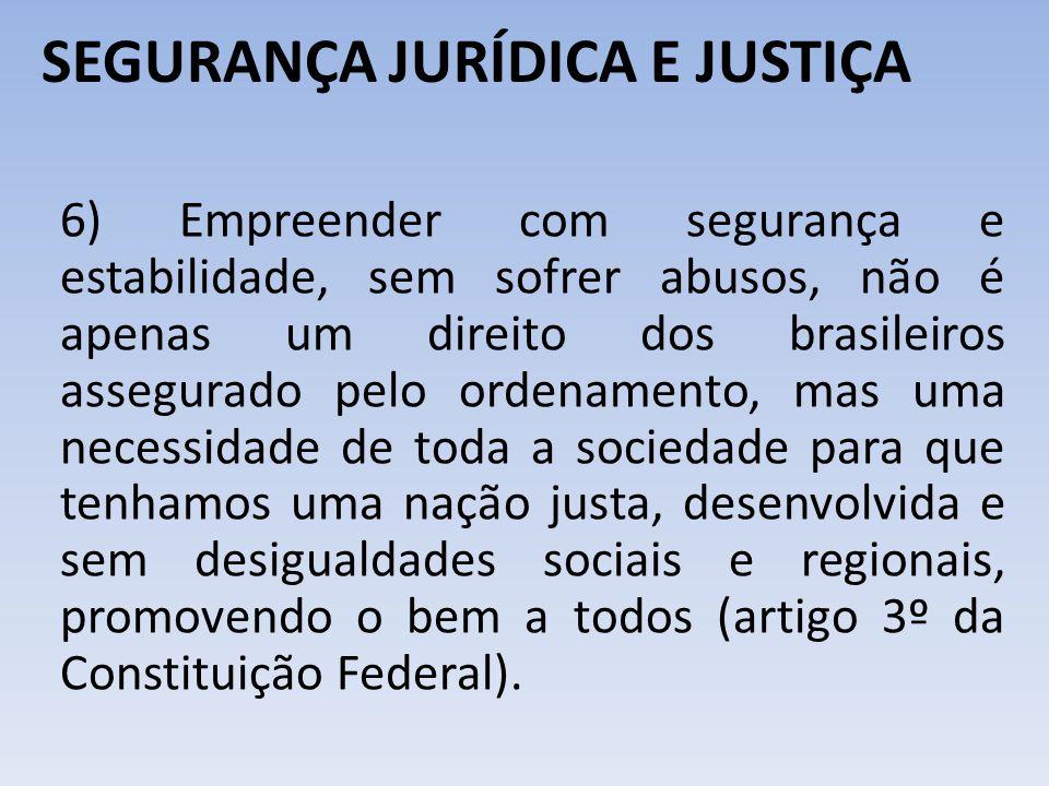 SEGURANÇA JURÍDICA E JUSTIÇA 6) Empreender com segurança e estabilidade, sem sofrer abusos, não é apenas um direito dos brasileiros assegurado pelo or