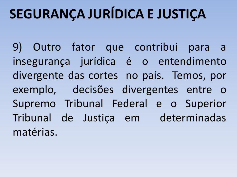 SEGURANÇA JURÍDICA E JUSTIÇA 9) Outro fator que contribui para a insegurança jurídica é o entendimento divergente das cortes no país. Temos, por exemp
