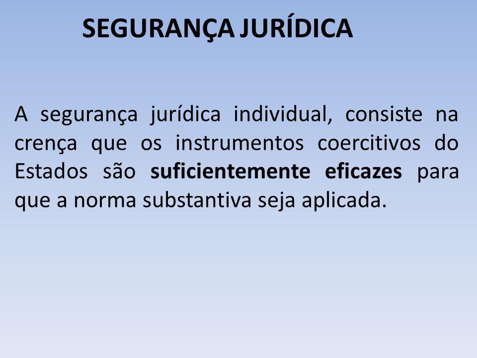 SEGURANÇA JURÍDICA A segurança jurídica individual, consiste na crença que os instrumentos coercitivos do Estados são suficientemente eficazes para qu