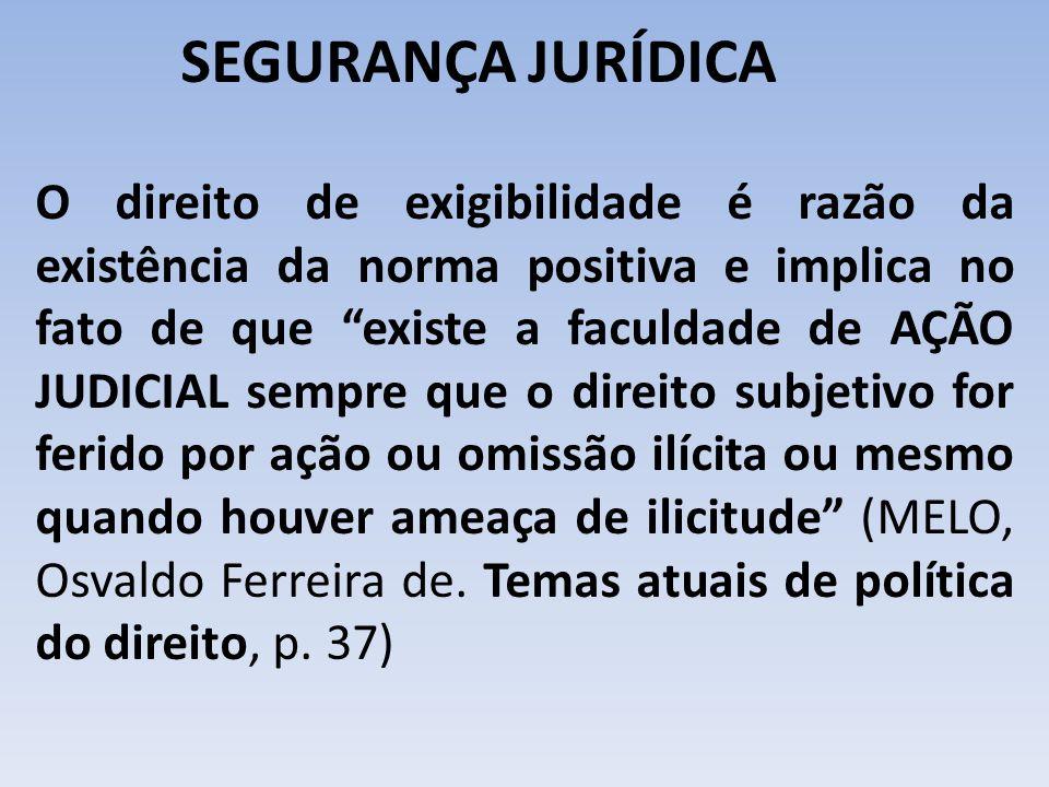 """SEGURANÇA JURÍDICA O direito de exigibilidade é razão da existência da norma positiva e implica no fato de que """"existe a faculdade de AÇÃO JUDICIAL se"""