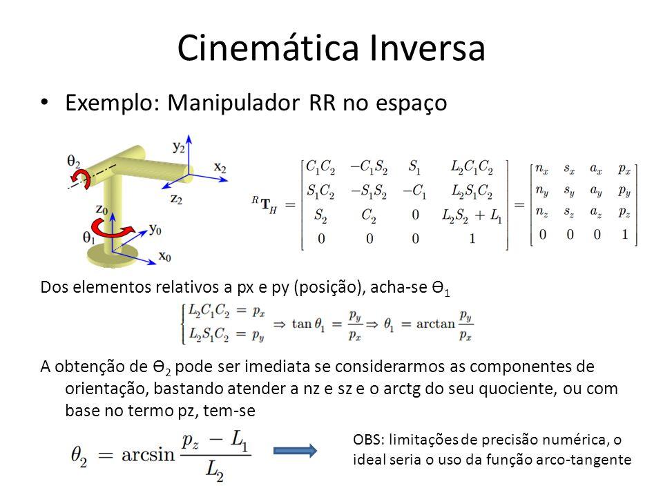 Exemplo: Manipulador RR no espaço Dos elementos relativos a px e py (posição), acha-se Ө 1 A obtenção de Ө 2 pode ser imediata se considerarmos as com