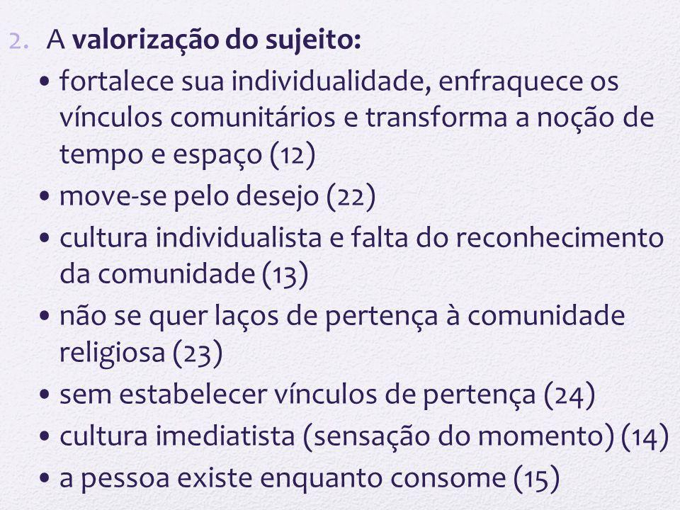 2.A valorização do sujeito: fortalece sua individualidade, enfraquece os vínculos comunitários e transforma a noção de tempo e espaço (12) move-se pel