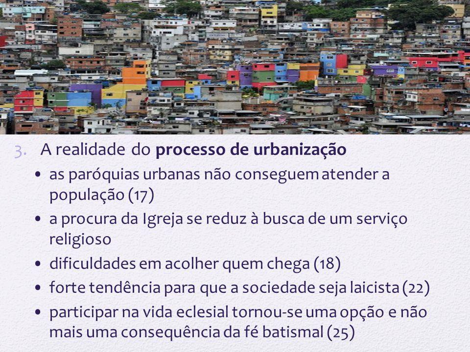 3.A realidade do processo de urbanização as paróquias urbanas não conseguem atender a população (17) a procura da Igreja se reduz à busca de um serviç