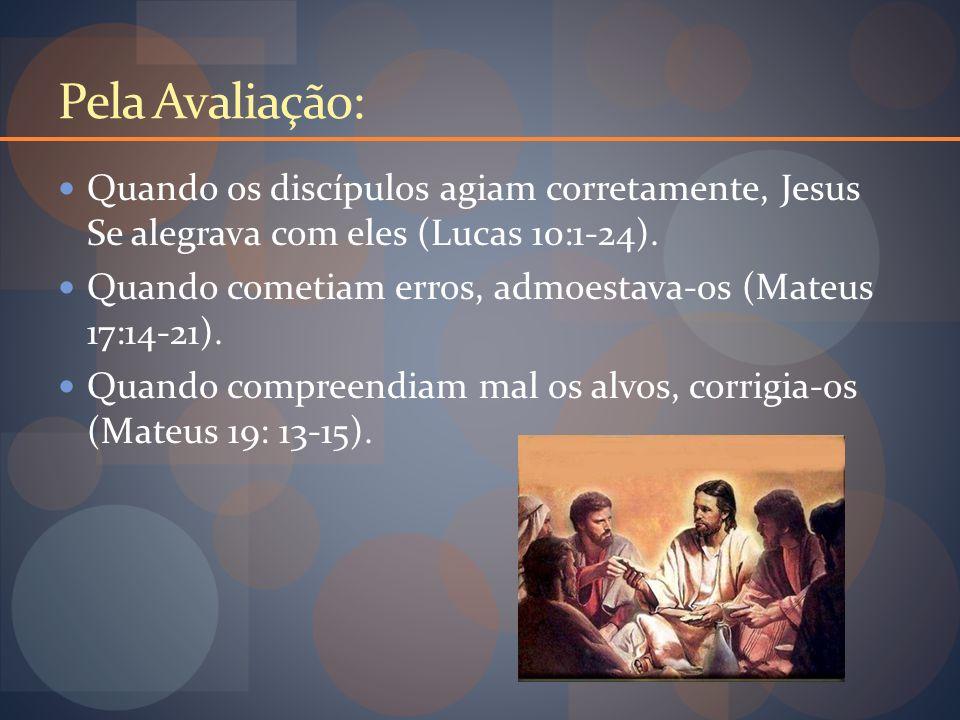 Pela Avaliação: Quando os discípulos agiam corretamente, Jesus Se alegrava com eles (Lucas 10:1-24).