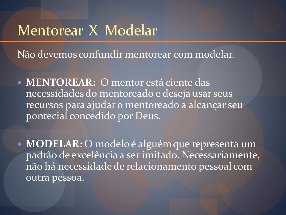 Mentorear X Modelar Não devemos confundir mentorear com modelar.
