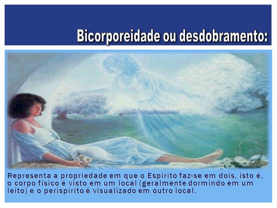 Representa a propriedade em que o Espírito faz-se em dois, isto é, o corpo físico é visto em um local (geralmente dormindo em um leito) e o perispírit