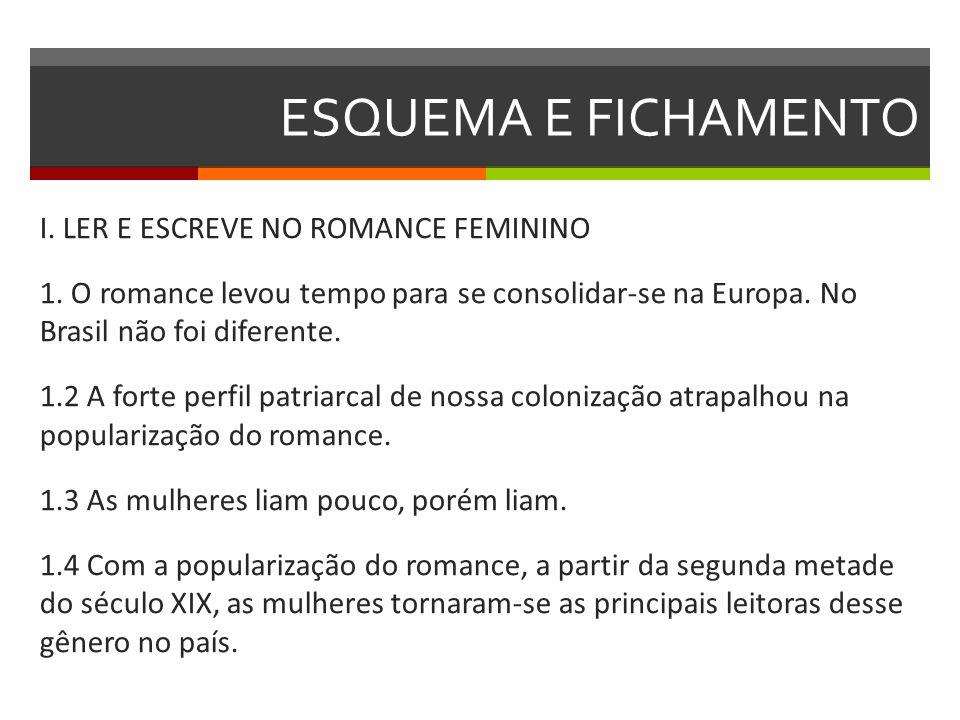 ESQUEMA E FICHAMENTO I. LER E ESCREVE NO ROMANCE FEMININO 1. O romance levou tempo para se consolidar-se na Europa. No Brasil não foi diferente. 1.2 A