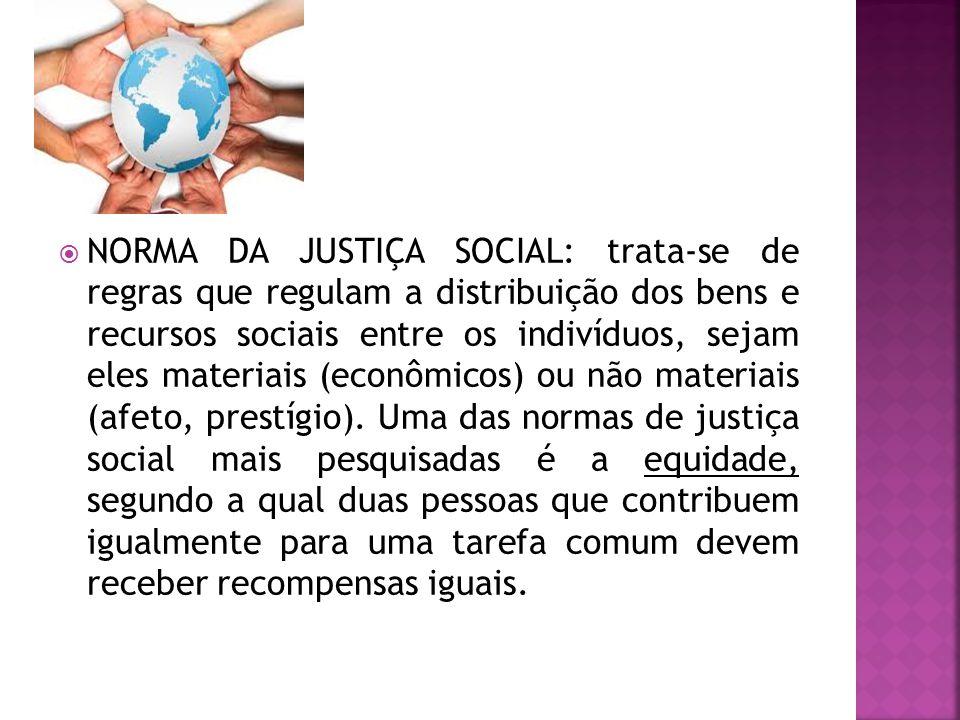  NORMA DA JUSTIÇA SOCIAL: trata-se de regras que regulam a distribuição dos bens e recursos sociais entre os indivíduos, sejam eles materiais (econôm
