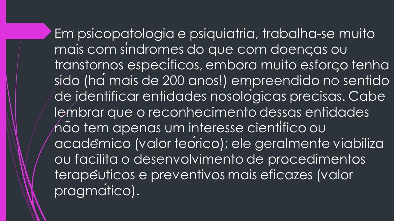 Em psicopatologia e psiquiatria, trabalha-se muito mais com sindromes do que com doenc ̧ as ou transtornos especificos, embora muito esforc ̧ o tenha