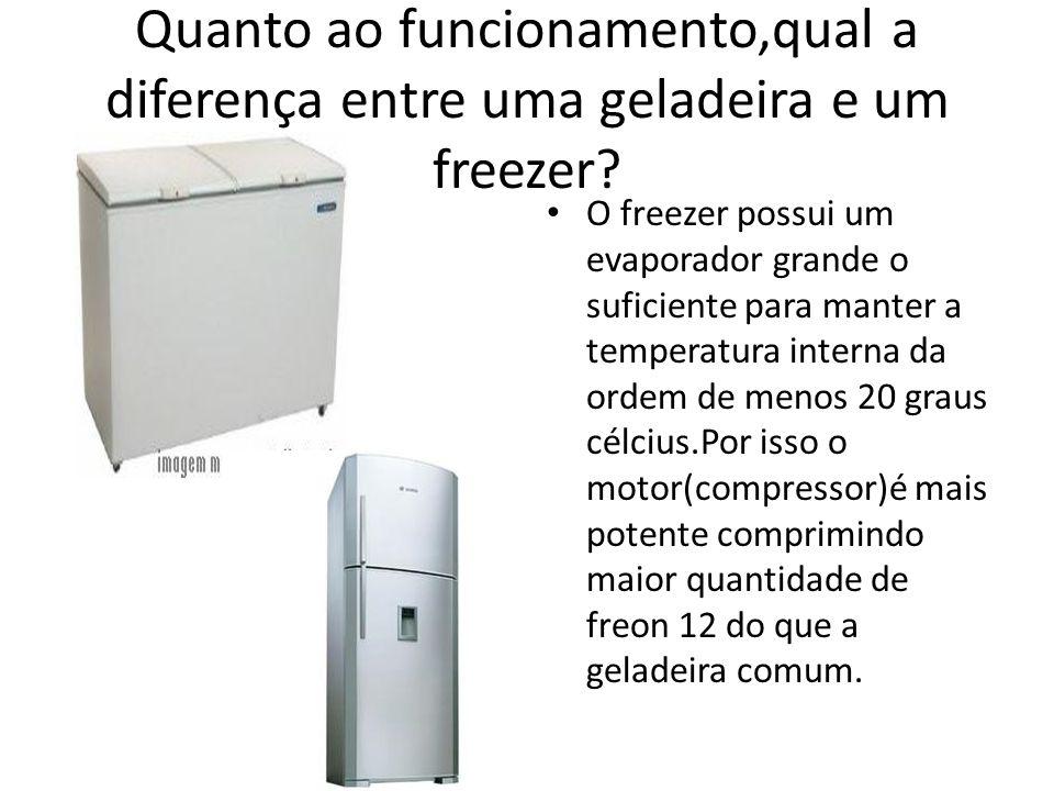 Quanto ao funcionamento,qual a diferença entre uma geladeira e um freezer? O freezer possui um evaporador grande o suficiente para manter a temperatur