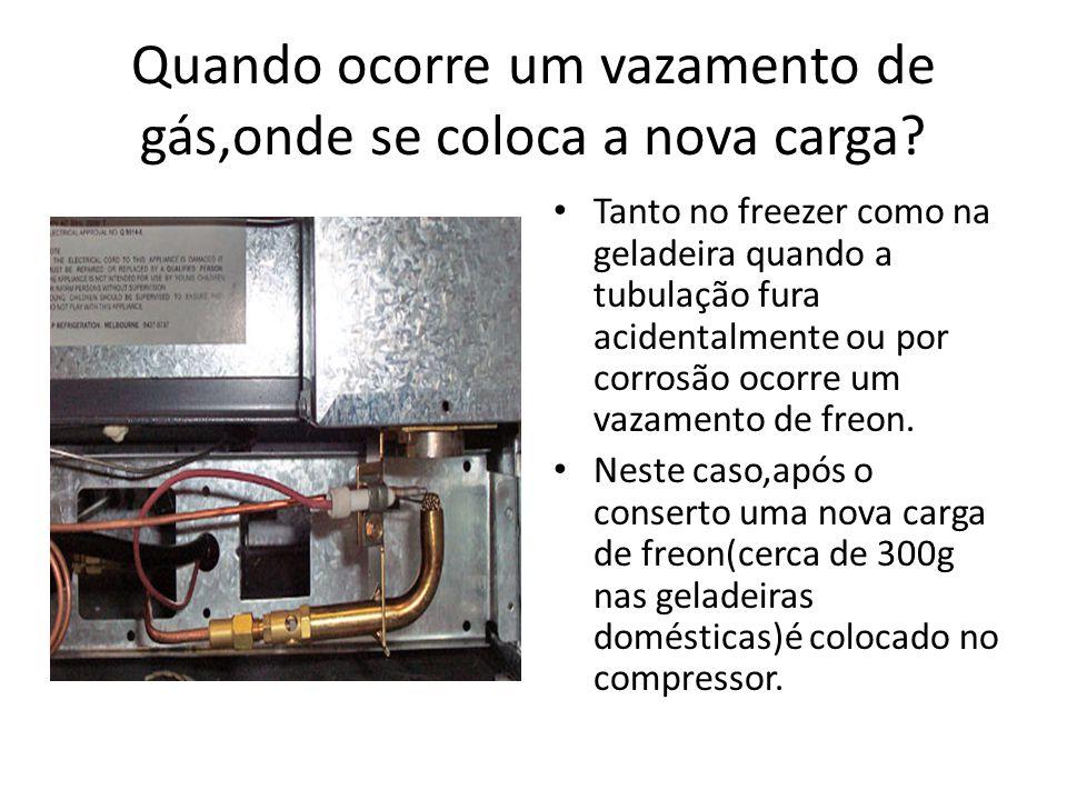 Quando ocorre um vazamento de gás,onde se coloca a nova carga? Tanto no freezer como na geladeira quando a tubulação fura acidentalmente ou por corros