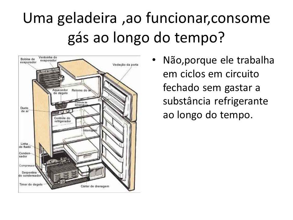 Uma geladeira,ao funcionar,consome gás ao longo do tempo? Não,porque ele trabalha em ciclos em circuito fechado sem gastar a substância refrigerante a