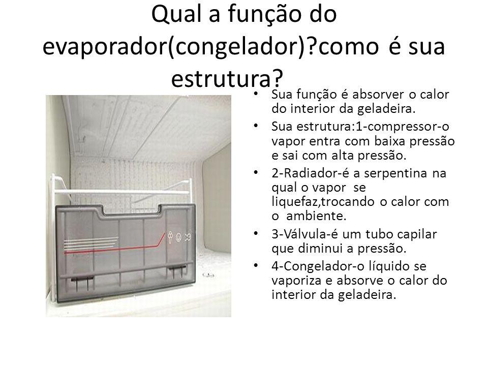 Qual a função do evaporador(congelador)?como é sua estrutura? Sua função é absorver o calor do interior da geladeira. Sua estrutura:1-compressor-o vap