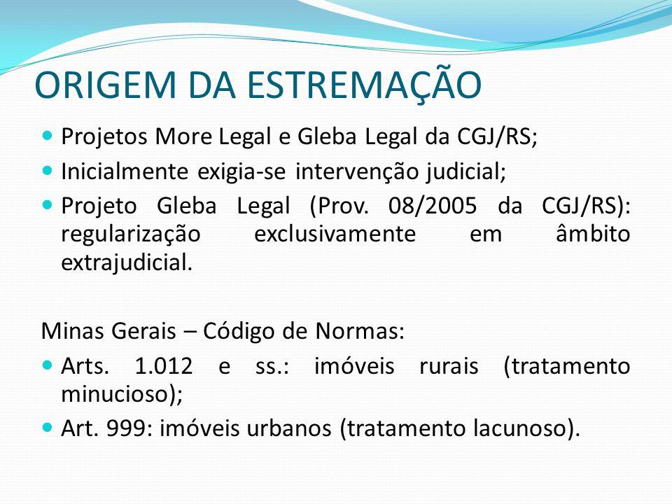 ORIGEM DA ESTREMAÇÃO Projetos More Legal e Gleba Legal da CGJ/RS; Inicialmente exigia-se intervenção judicial; Projeto Gleba Legal (Prov. 08/2005 da C