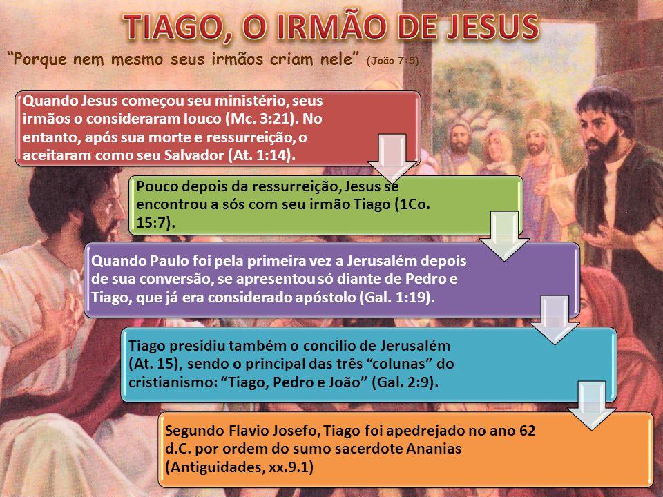 """""""Porque nem mesmo seus irmãos criam nele"""" (João 7:5) Quando Jesus começou seu ministério, seus irmãos o consideraram louco (Mc. 3:21). No entanto, apó"""