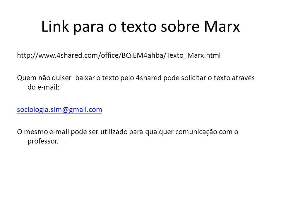 Link para o texto sobre Marx http://www.4shared.com/office/BQiEM4ahba/Texto_Marx.html Quem não quiser baixar o texto pelo 4shared pode solicitar o tex