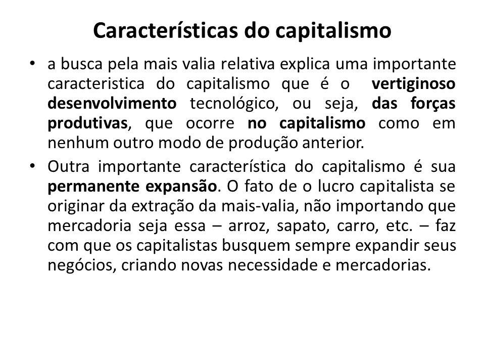 Características do capitalismo a busca pela mais valia relativa explica uma importante caracteristica do capitalismo que é o vertiginoso desenvolvimen