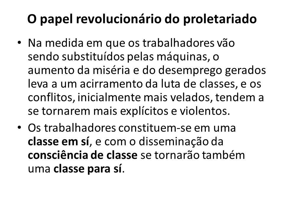 O papel revolucionário do proletariado Na medida em que os trabalhadores vão sendo substituídos pelas máquinas, o aumento da miséria e do desemprego g