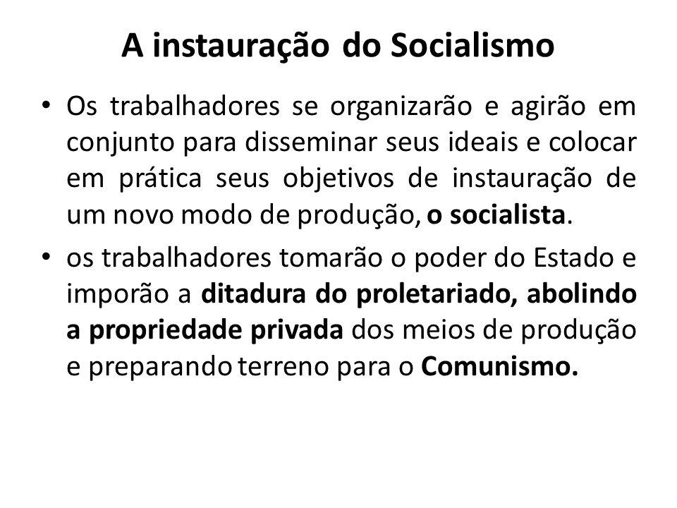 A instauração do Socialismo Os trabalhadores se organizarão e agirão em conjunto para disseminar seus ideais e colocar em prática seus objetivos de in