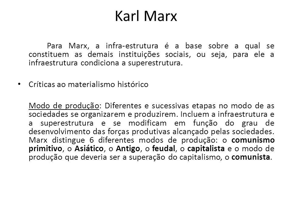Karl Marx Para Marx, a infra-estrutura é a base sobre a qual se constituem as demais instituições sociais, ou seja, para ele a infraestrutura condicio