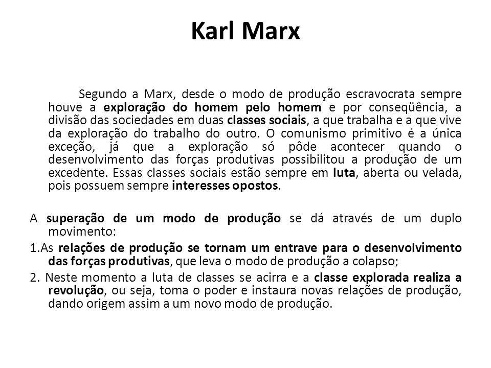 Karl Marx Segundo a Marx, desde o modo de produção escravocrata sempre houve a exploração do homem pelo homem e por conseqüência, a divisão das socied