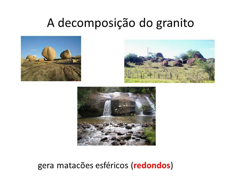 A decomposição do granito gera matacões esféricos (redondos)