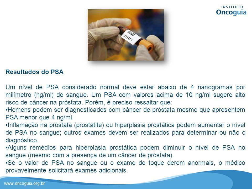 www.oncoguia.org.br Resultados do PSA Um nível de PSA considerado normal deve estar abaixo de 4 nanogramas por milímetro (ng/ml) de sangue. Um PSA com