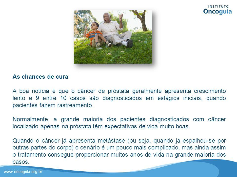 www.oncoguia.org.br As chances de cura A boa notícia é que o câncer de próstata geralmente apresenta crescimento lento e 9 entre 10 casos são diagnost