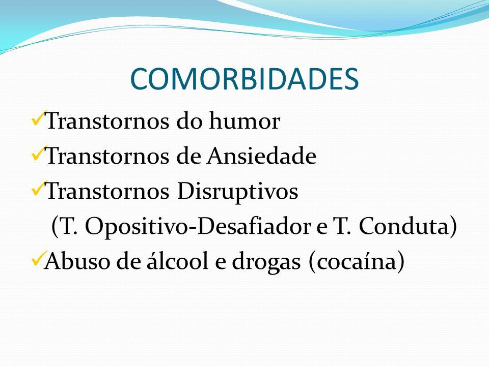 COMORBIDADES Transtornos do humor Transtornos de Ansiedade Transtornos Disruptivos (T.