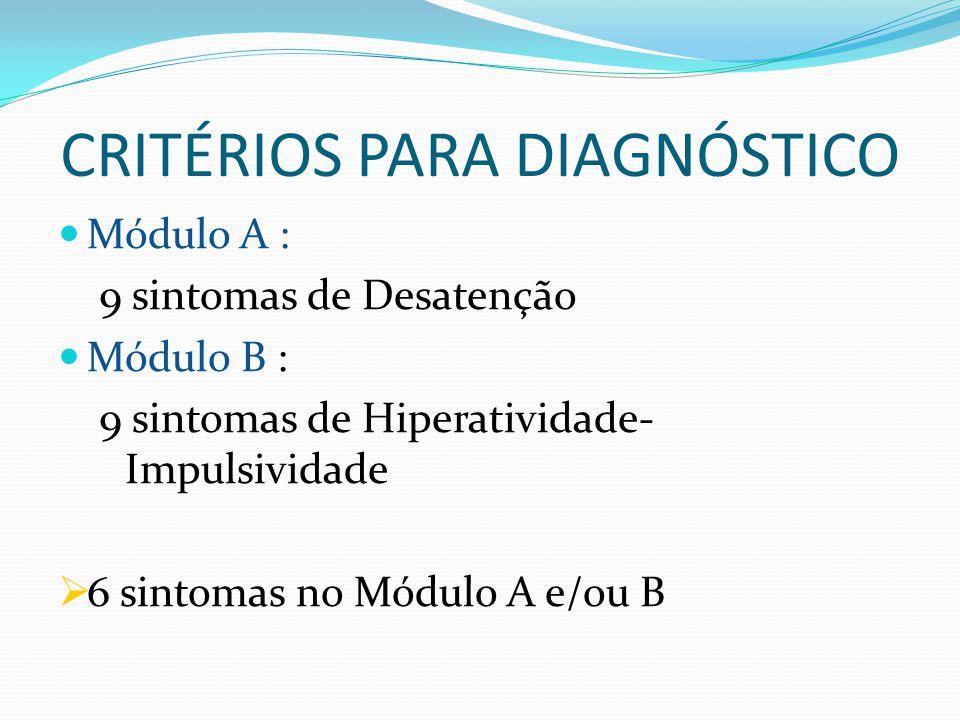CRITÉRIOS PARA DIAGNÓSTICO Módulo A : 9 sintomas de Desatenção Módulo B : 9 sintomas de Hiperatividade- Impulsividade  6 sintomas no Módulo A e/ou B