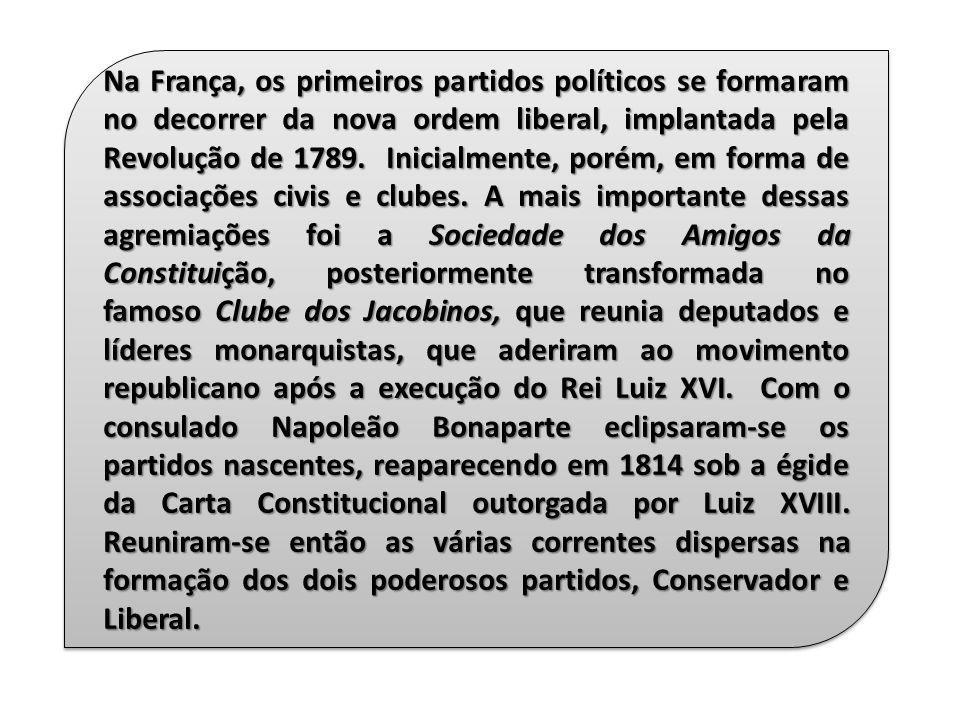 Na França, os primeiros partidos políticos se formaram no decorrer da nova ordem liberal, implantada pela Revolução de 1789.