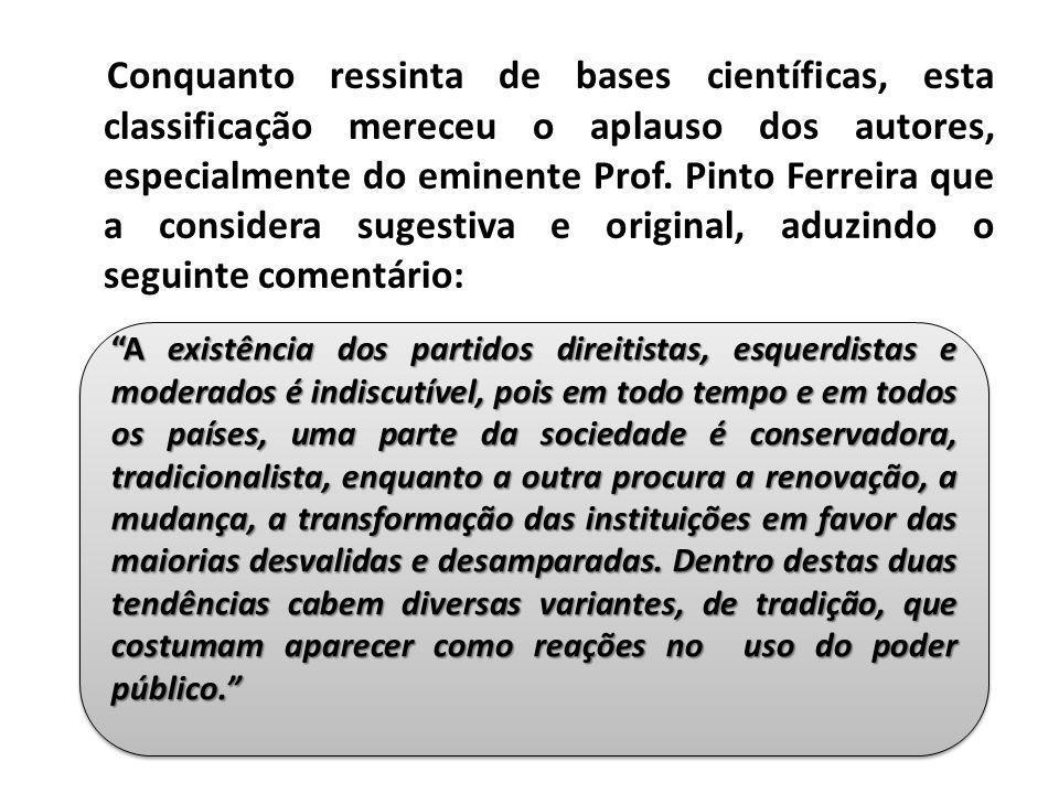 Conquanto ressinta de bases científicas, esta classificação mereceu o aplauso dos autores, especialmente do eminente Prof. Pinto Ferreira que a consid