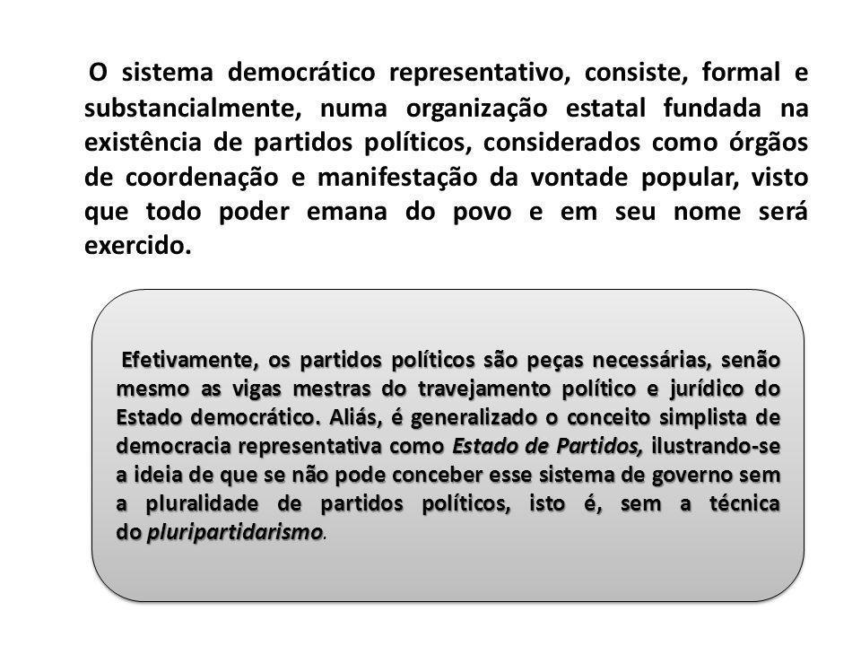 O sistema democrático representativo, consiste, formal e substancialmente, numa organização estatal fundada na existência de partidos políticos, consi