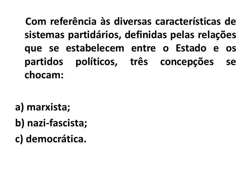 Com referência às diversas características de sistemas partidários, definidas pelas relações que se estabelecem entre o Estado e os partidos políticos, três concepções se chocam: a) marxista; b) nazi-fascista; c) democrática.