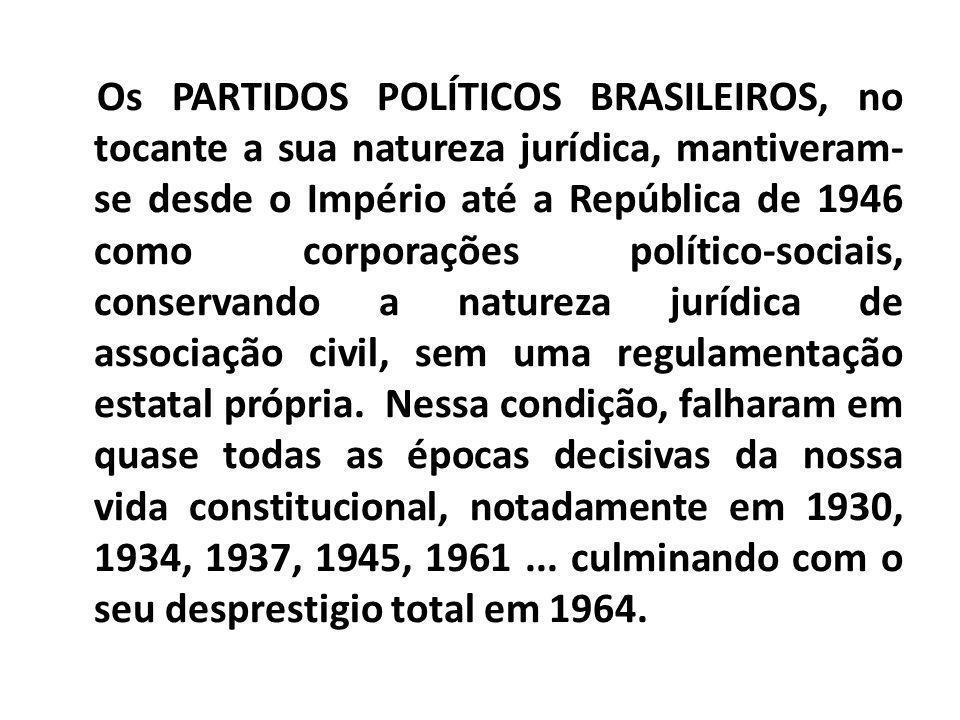 Os PARTIDOS POLÍTICOS BRASILEIROS, no tocante a sua natureza jurídica, mantiveram- se desde o Império até a República de 1946 como corporações polític