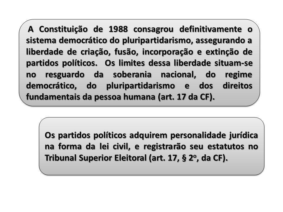 A Constituição de 1988 consagrou definitivamente o sistema democrático do pluripartidarismo, assegurando a liberdade de criação, fusão, incorporação e