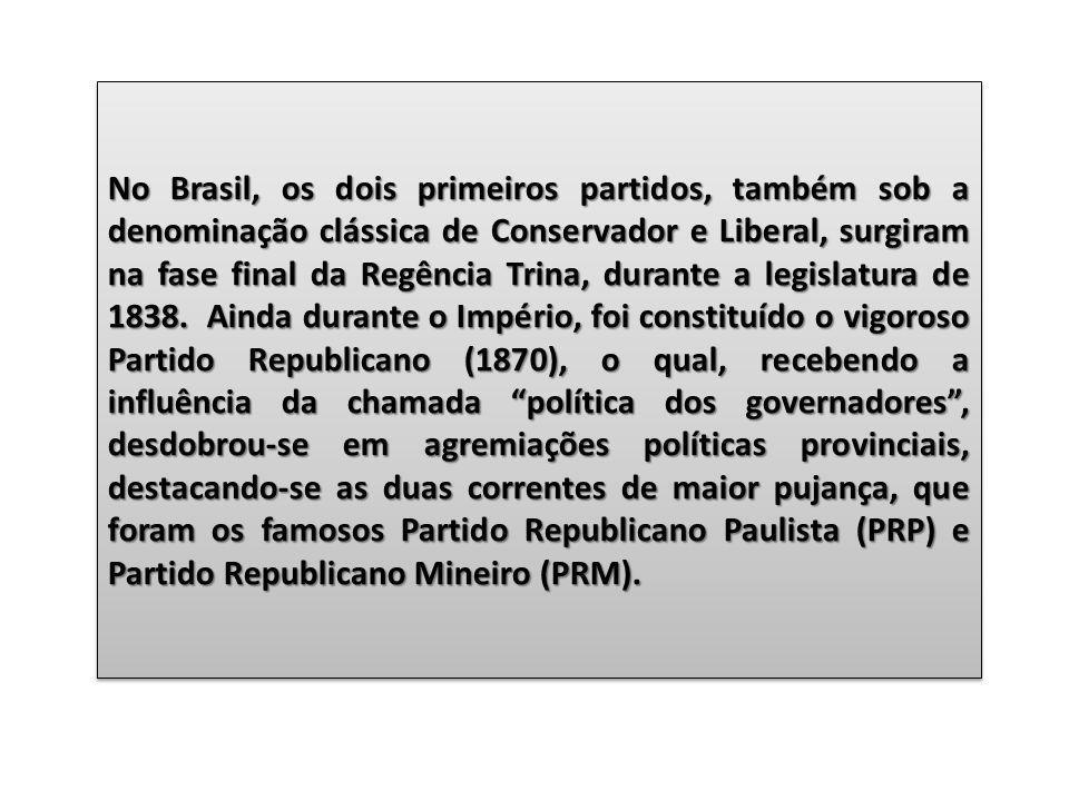 No Brasil, os dois primeiros partidos, também sob a denominação clássica de Conservador e Liberal, surgiram na fase final da Regência Trina, durante a legislatura de 1838.