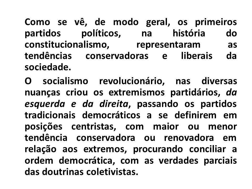 Como se vê, de modo geral, os primeiros partidos políticos, na história do constitucionalismo, representaram as tendências conservadoras e liberais da
