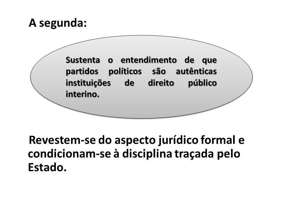 A segunda: Revestem-se do aspecto jurídico formal e condicionam-se à disciplina traçada pelo Estado. Sustenta o entendimento de que partidos políticos
