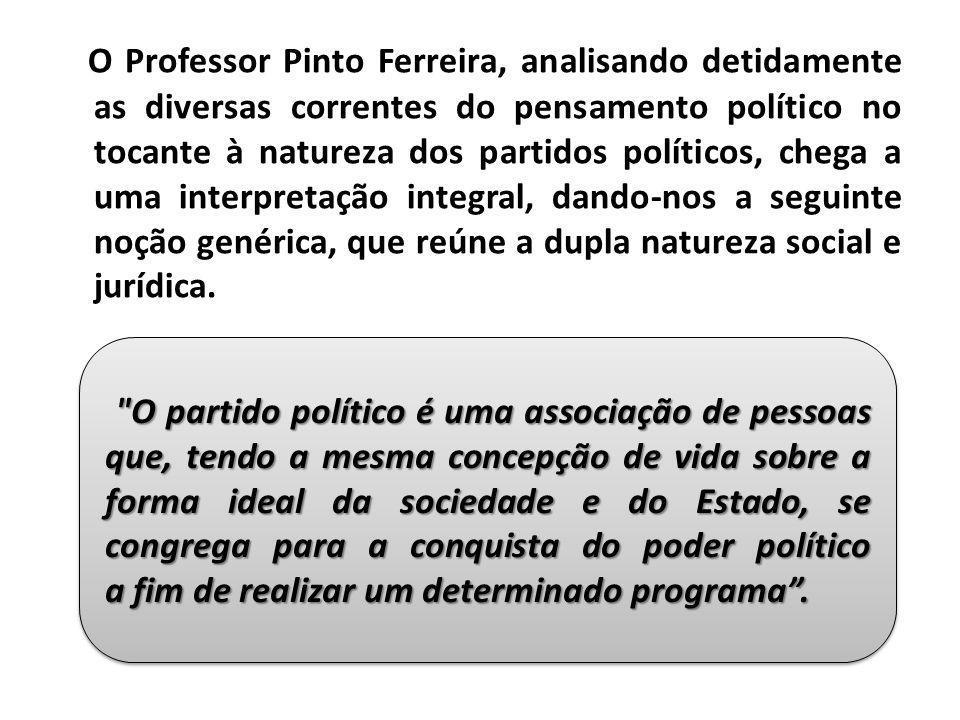 O Professor Pinto Ferreira, analisando detidamente as diversas correntes do pensamento político no tocante à natureza dos partidos políticos, chega a uma interpretação integral, dando-nos a seguinte noção genérica, que reúne a dupla natureza social e jurídica.