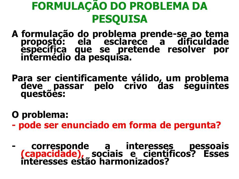 FORMULAÇÃO DO PROBLEMA DA PESQUISA A formulação do problema prende-se ao tema proposto: ela esclarece a dificuldade específica que se pretende resolve